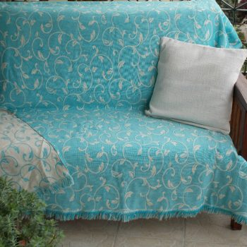 rixtari_turquoise_vamvakero_cotton_jaquard_throw
